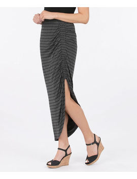Ruched Side Slit Maxi Skirt   Striped by Ricki's