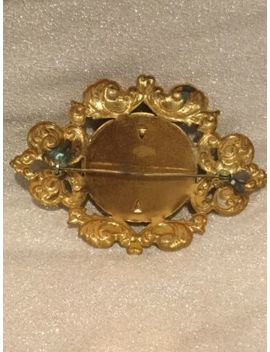 Vintage Victorian Woman Picture Frame Style Ornate Pressed Metal Brooch by Estate