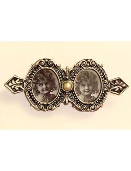 Vintage Victorian Silver Pewter Pearl Double Picture Frame Brooch Pin by Silver