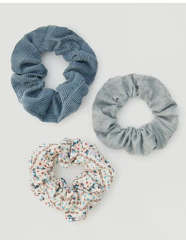 3 Pack Of Corduroy And Floral Print Scrunchies by Pull & Bear
