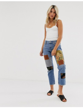 Free People Poppy Patchwork Boyfriend Jeans by Free People