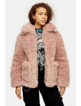 Pink Cosy Borg Jacket by Topshop