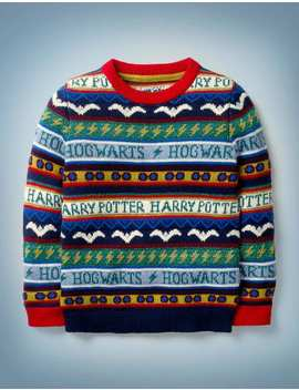 Harry Potter Fair Isle Jumper   College Blue Multi by Boden