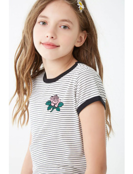 Girls Striped Rose Patch Tee (Kids) by Forever 21