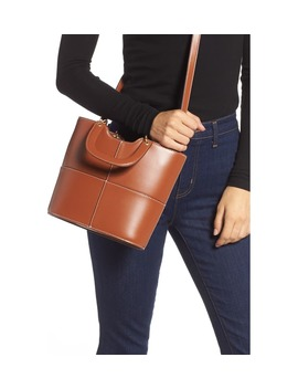 Andy Seamed Leather Tote by Staud