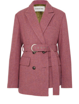 Oversized Asymmetric Belted Wool Tweed Blazer by Andersson Bell