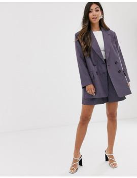 Asos Design Petite Dad Suit Blazer In Purple Pinstripe by Asos Design
