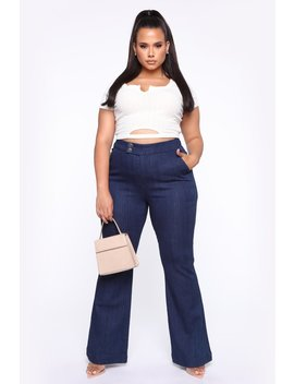 Making Money Honey Ii Flare Jeans   Rinse Blue Wash by Fashion Nova