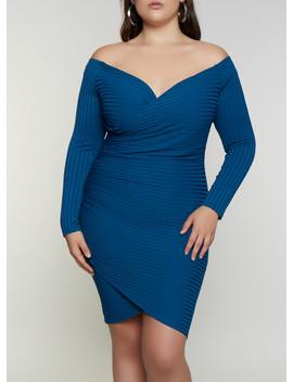 Plus Size Off The Shoulder Faux Wrap Dress by Rainbow