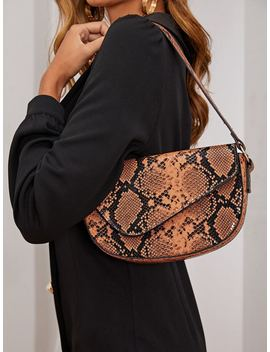 Snakeskin Print Bagettue Bag by Shein