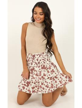 Message To You Skirt In Cream Floral by Showpo Fashion