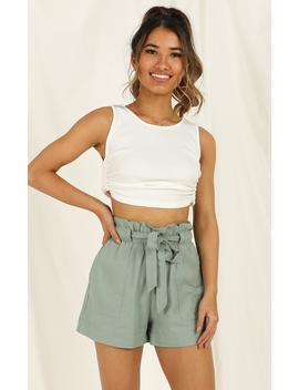 All Rounder Shorts In Sage Linen Look by Showpo Fashion