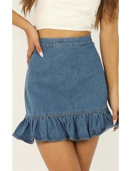 Return To Me Denim Skirt In Mid Wash by Showpo Fashion