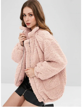 Hot Sale Slip Pockets Faux Fur Teddy Coat   Pink L by Zaful