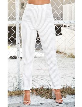 White Pinstripe High Waisted Straight Leg Trouser by Prettylittlething