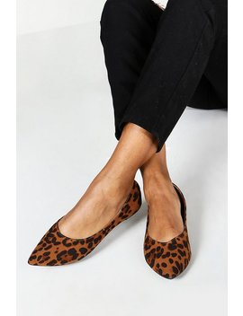 Wide Fit Leopard Pointed Ballets by Boohoo