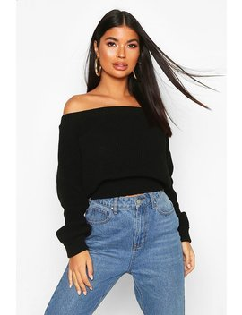 Petite Bardot Balloon Sleeve Jumper by Boohoo