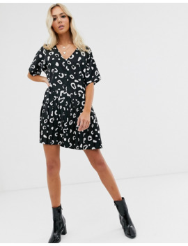 Wednesday's Girl Button Through Mini Dress With Pleated Skirt In Abstract Spot by Wednesday's Girl