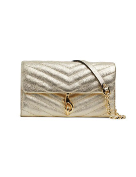 Edie Quilted Metallic Leather Chain Wallet by Rebecca Minkoff