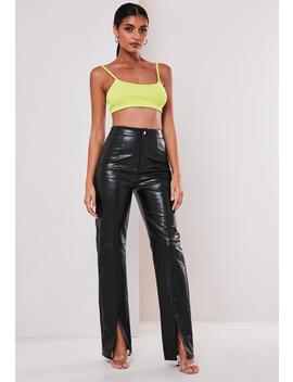 Black Faux Leather Split Front Pants by Missguided