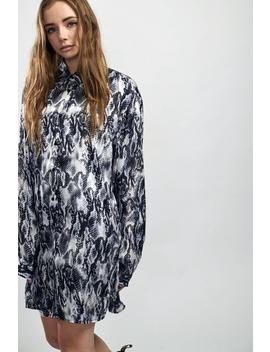 Snake Print Satin Shirt Dress by The Ragged Priest
