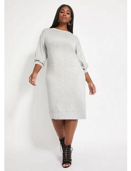 Bishop Sleeve Midi Dress by Ashley Stewart