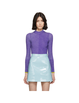 Purple Wool Ribbed Turtleneck by Emilio Pucci