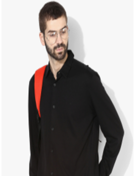 Black Solid Slim Fit Casual Shirt by Calvin Klein