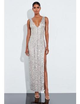 Peace + Love Silver Plunge Embellished Split Maxi Dress by Missguided
