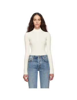 Off White Viscose Bodysuit by Helmut Lang
