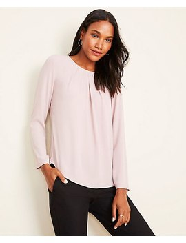 Mixed Media Pleat Neck Top by Ann Taylor