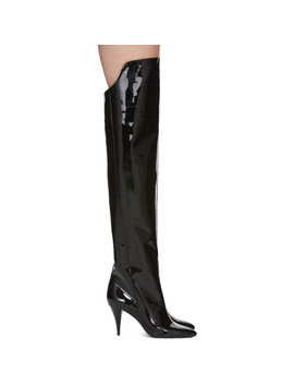 Black Patent Kiki Boots by Saint Laurent