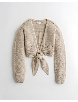 Tie Front Crochet Cardigan by Hollister