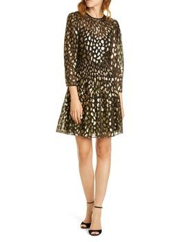 Leopard Metallic Long Sleeve Dress by Rebecca Taylor