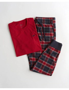 Graphic Tee & Flannel Jogger Sleep Set by Hollister