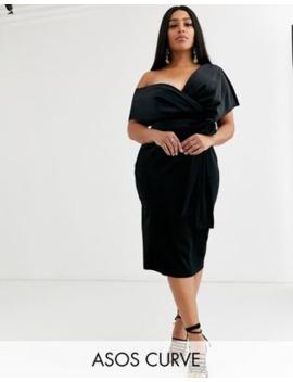Asos Design Curve Velvet Fallen Shoulder Midi Pencil Dress With Tie Detail by Asos Design