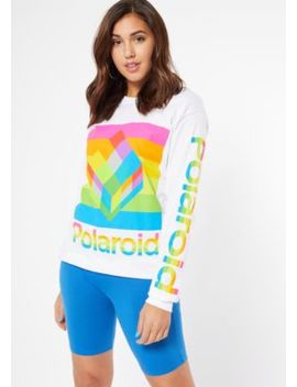 White Rainbow Polaroid Long Sleeve Graphic Tee by Rue21