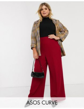 Asos Design Curve Wide Leg Pants With Clean High Waist by Asos Design