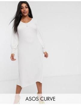 Asos Design Curve Swing Rib Bow Back Midi Dress by Asos Design