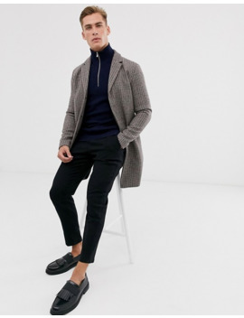 Selected Homme Recycled Wool Check Overcoat by Selected Homme