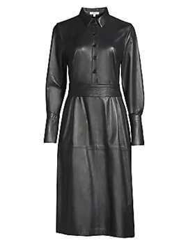 Orelie Leather Shirtdress by Equipment