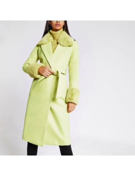 Lime Faux Fur Trim Belted Robe Coat by River Island