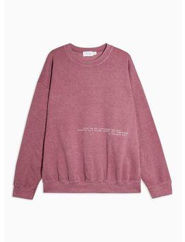 Washed Burgundy Print Oversized Sweatshirt by Topman