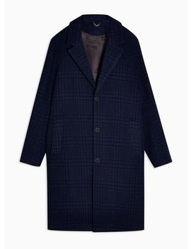 Blue And Black Check Houndstooth Overcoat by Topman