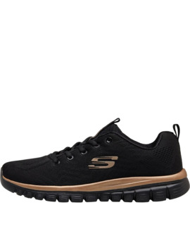 Skechers Womens Graceful Get Connected Trainers Black/Rose Gold by Skechers