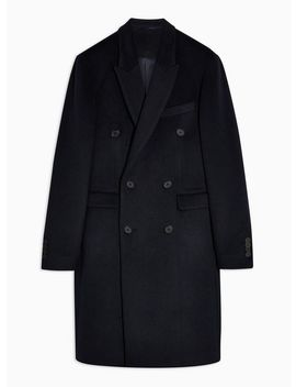 Navy Double Breasted Coat With Wool by Topman
