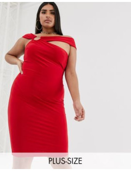 Club L London Plus Midi Bodycon Dress With Hardware Back Detail In Red by Club L