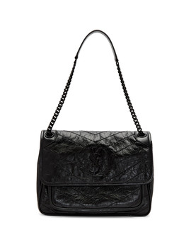 Black Medium Quilted Niki Bag by Saint Laurent
