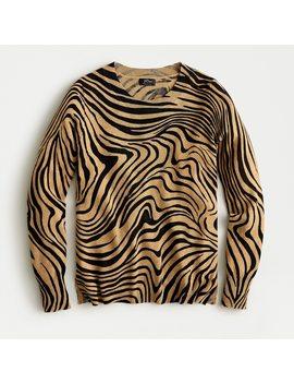 Long Sleeve Everyday Cashmere Crewneck Sweater In Zebra Stripe by J.Crew