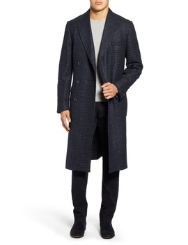 Slim Fit Plaid Double Breasted Wool Topcoat by Oliver Spencer